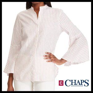 Chaps Bell White Striped Sleeve Linen-Blend Shirt